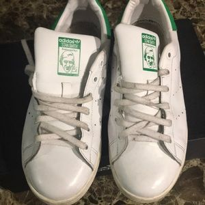 Used & worn green & White stan Smith